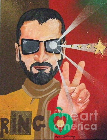 Artworks Painting - Ringo - Peace And Love by Joe Hawthorn