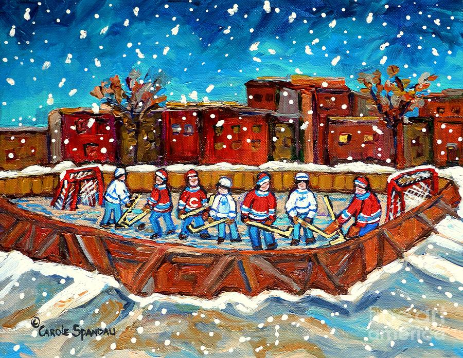 Hockey Painting - Rink Hockey Game Little Montreal Superstars Montreal Memories Snowy City Scene Carole Spandau by Carole Spandau