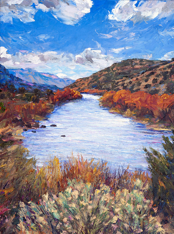 Southwest Landscape Painting - Rio River Bend by Steven Boone