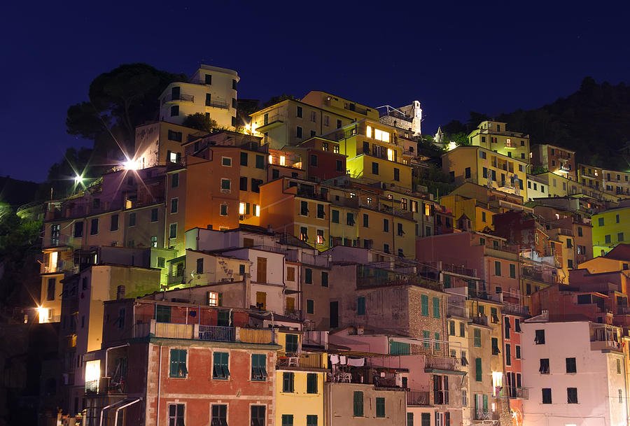 Ambiance Photograph - Riomaggiore Buildings At Night by Ioan Panaite