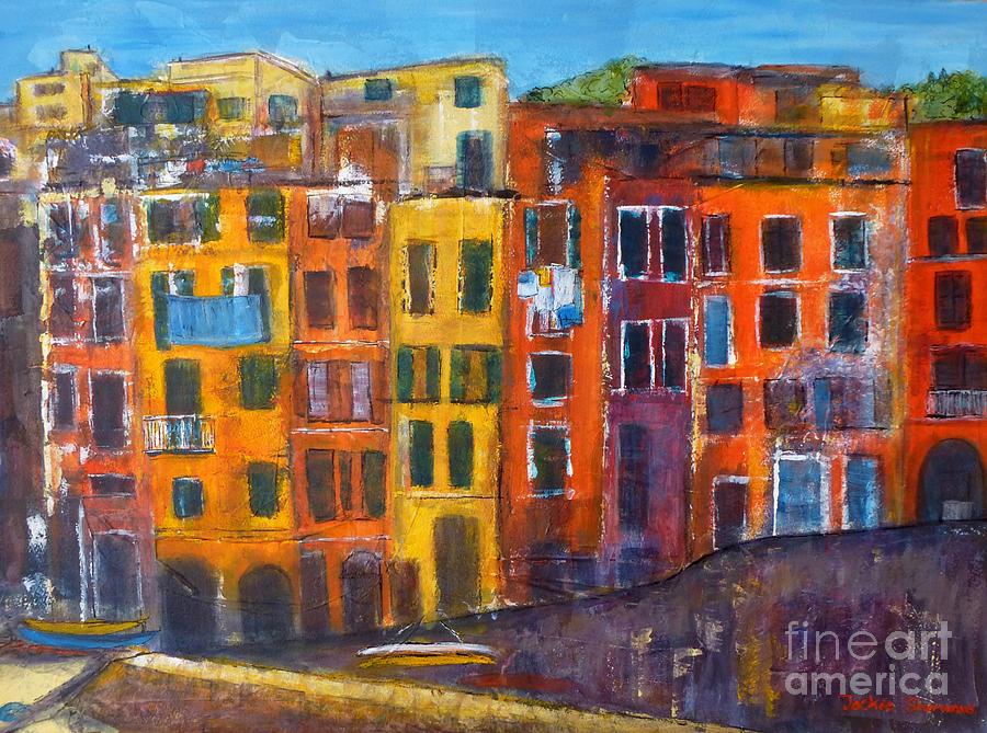 Riomaggiore Facade Cinque Terre by Jackie Sherwood