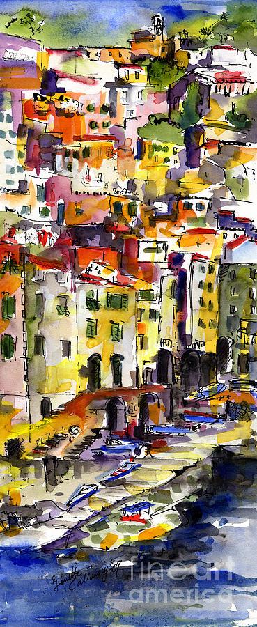 Riomaggiore Italy Waterccolor by Ginette Callaway