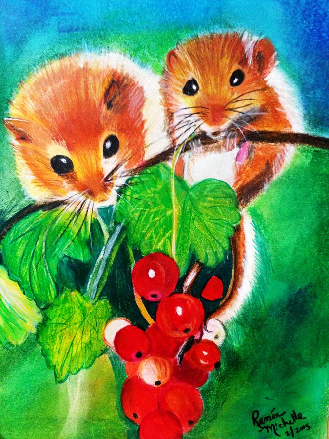 Vine Tomatoes Painting - Ripe-n-ready Cherry Tomatoes by Renee Michelle Wenker