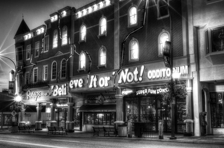 Ripley's Photograph - Ripleys Of Gatlinburg In Black And White by Greg and Chrystal Mimbs
