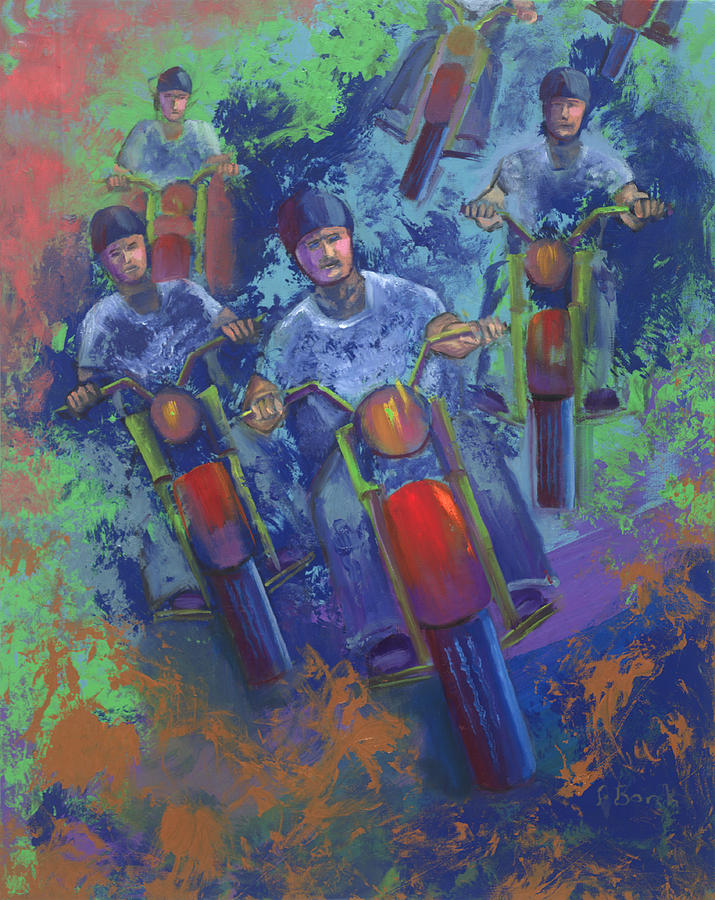 Motorcycle Painting - Rippin It Up by Peter Bonk