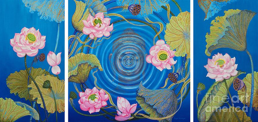 Buddha Painting - Ripple effect. Triptych by Yuliya Glavnaya
