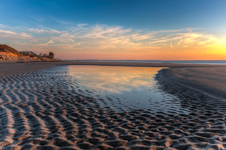 Clouds Photograph - Ripples In The Sand by Debra and Dave Vanderlaan