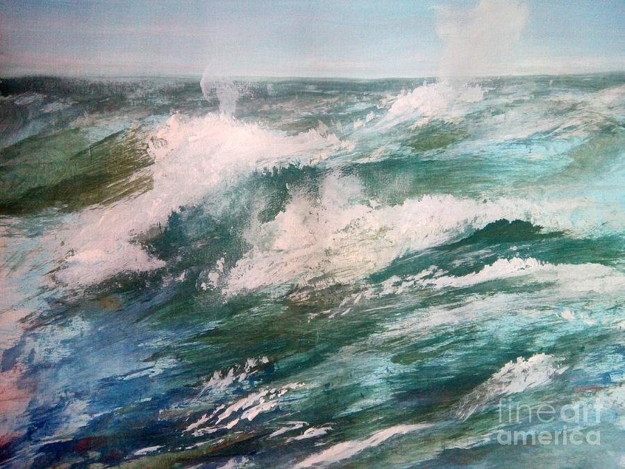Blue Painting - Rising Spume by Trilby Cole