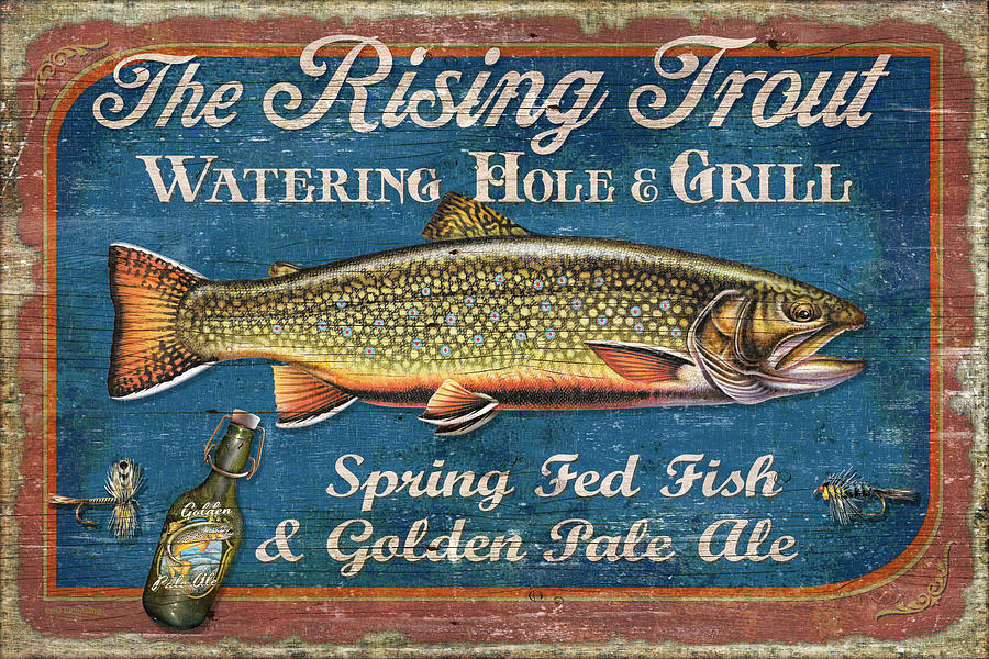 Jon Q Wright Painting - Rising Trout Sign by JQ Licensing