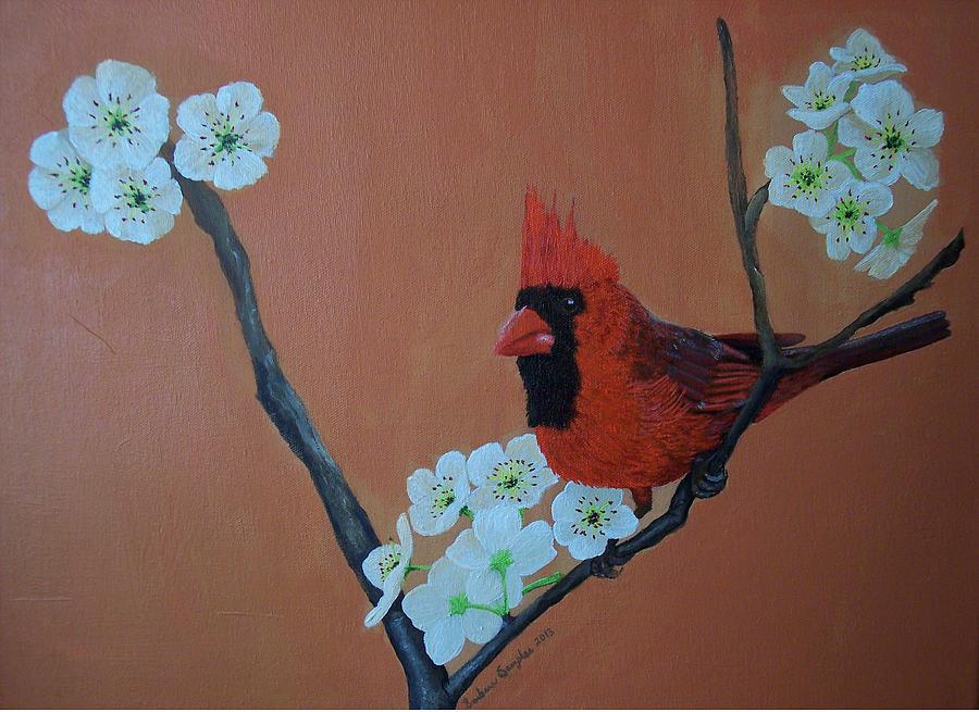 Male Cardinal Painting - Ritas Redbird For Kevin by Barbara Samples