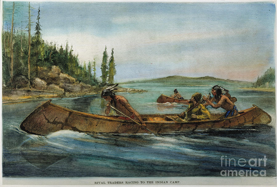 19th Century Painting - Rival Fur Traders  by Granger