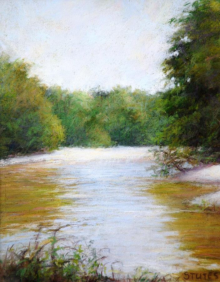 Rivers Painting - River And Trees by Nancy Stutes