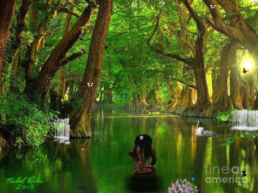 Woman In River Digital Art - River Beauty by Michael Rucker