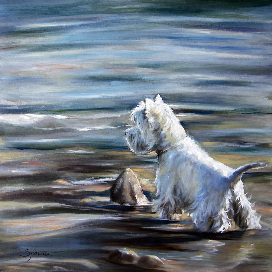 Westie Painting - River Boy by Mary Sparrow
