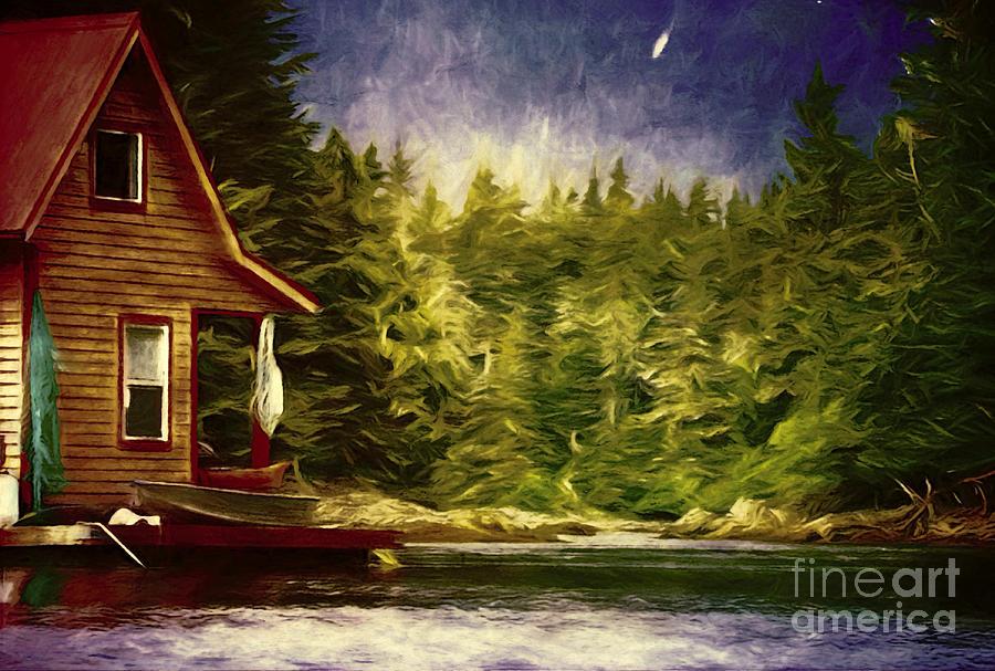 River Cabin In Alaska Painting