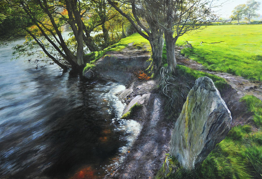 Landscape Painting - River Dee At Rhug by Harry Robertson