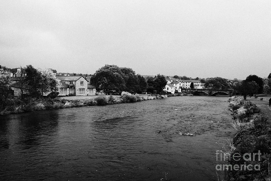 River Photograph - River Derwent On A Rainy Overcast Day Cockermouth Cumbria England by Joe Fox