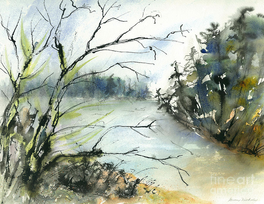 Watercolor Painting - River In Autumn by Gwen Nichols