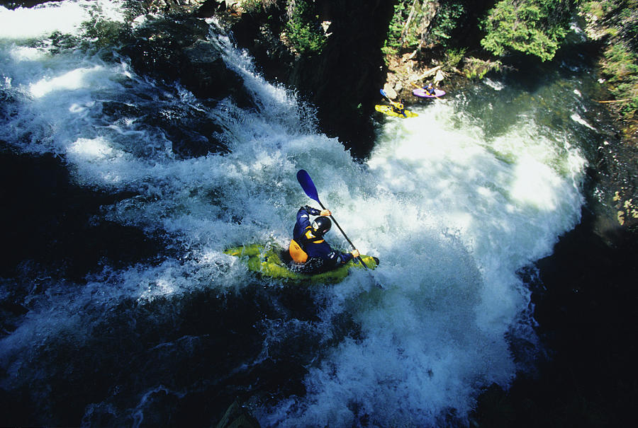 Churn Photograph - River Kayaking Over Waterfall, Crested by Adam Clark
