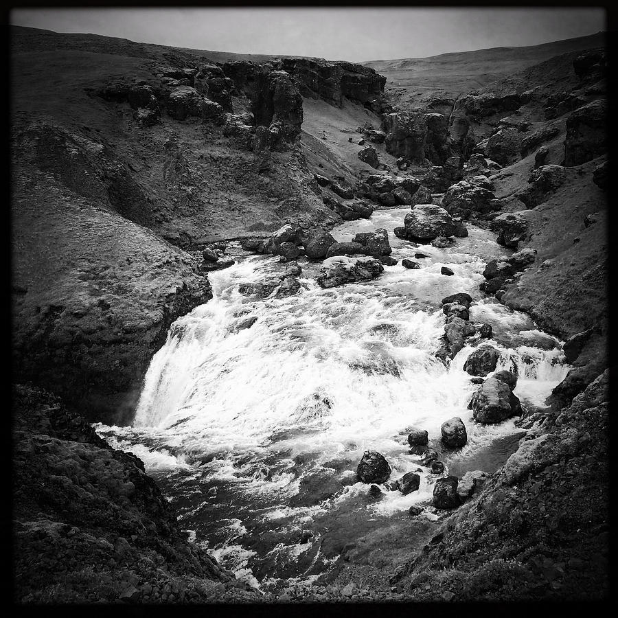 River Photograph - River Landscape Iceland Black And White by Matthias Hauser
