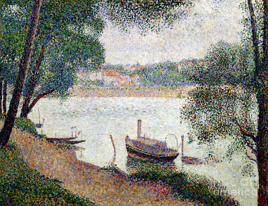 Seurat Painting - River Landscape With A Boat by Georges Pierre Seurat