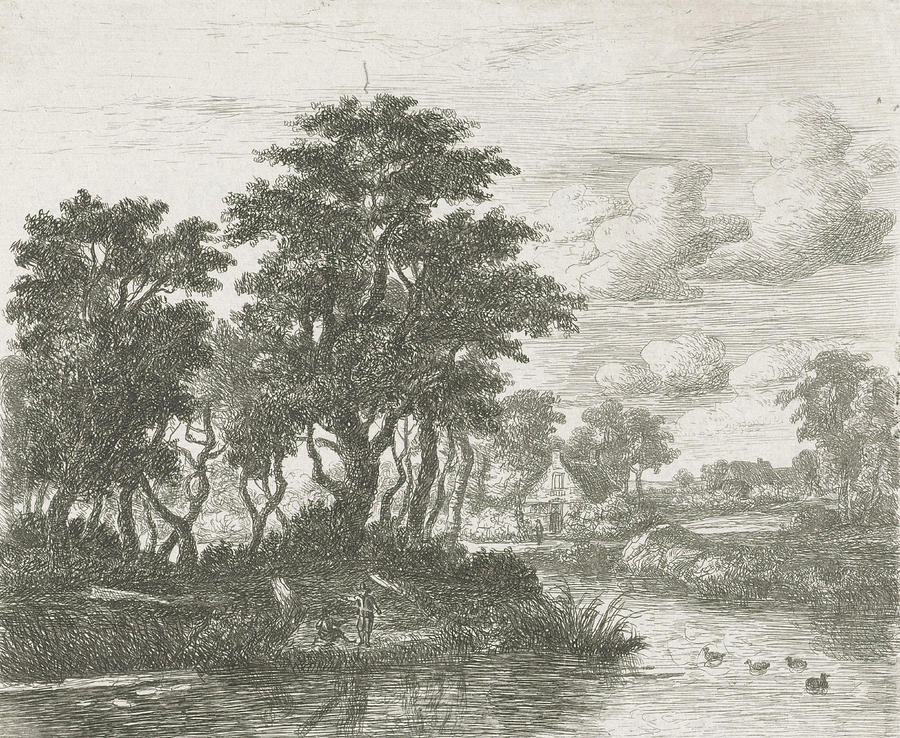 River Drawing - River Landscape With An Angler, Hermanus Jan Hendrik Van by Hermanus Jan Hendrik Van Rijkelijkhuysen And Meindert Hobbema