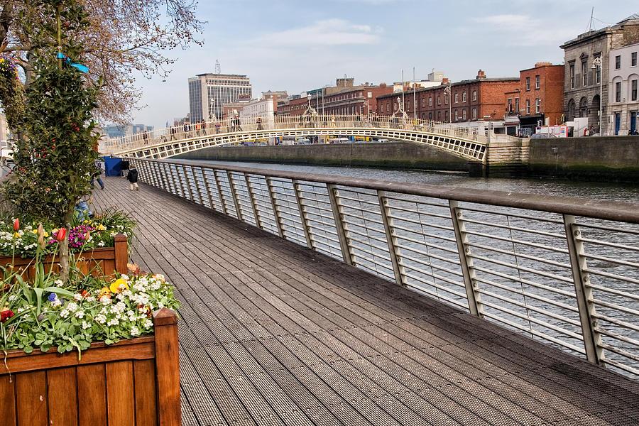 Dublin Photograph - River Liffey Boardwalk In Dublin by Artur Bogacki