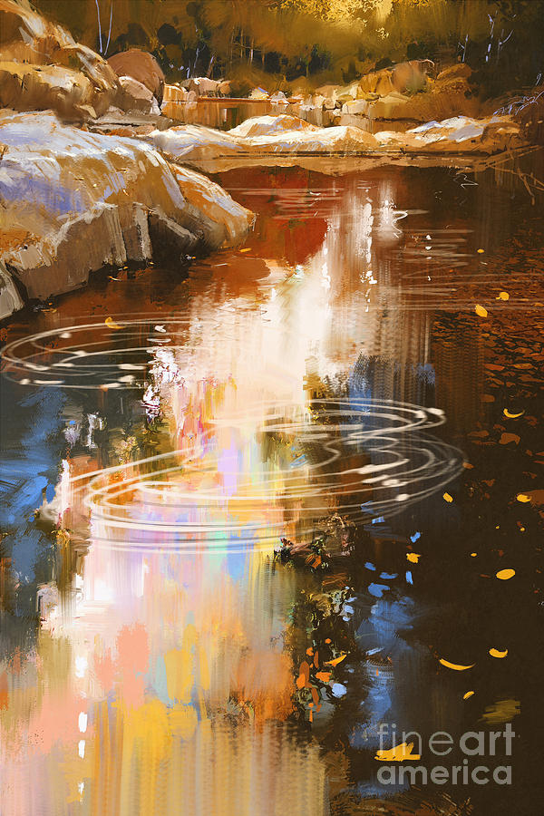 Forest Digital Art - River Lines With Stones In Autumn by Tithi Luadthong