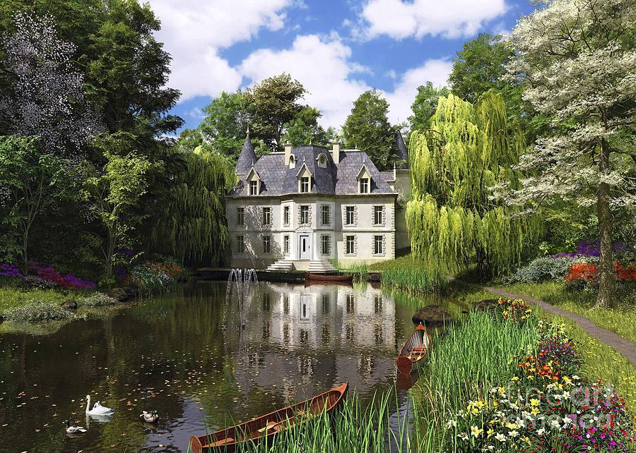 Victorian Digital Art - River Mansion by Dominic Davison