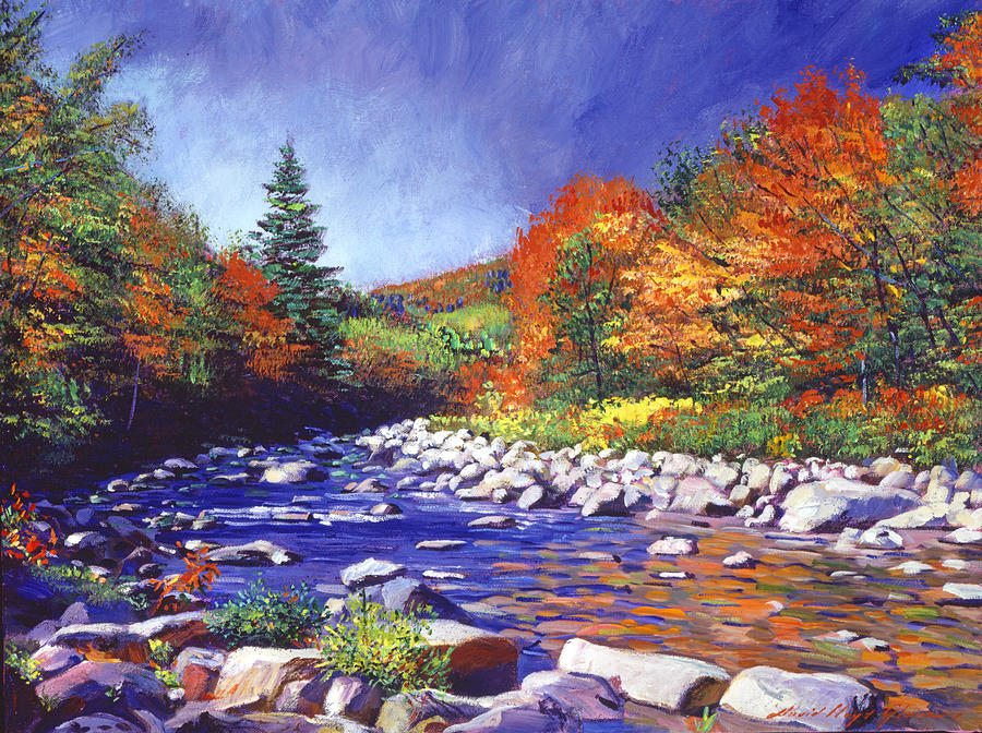 Landscape Painting - River Of Autumn Colors by David Lloyd Glover