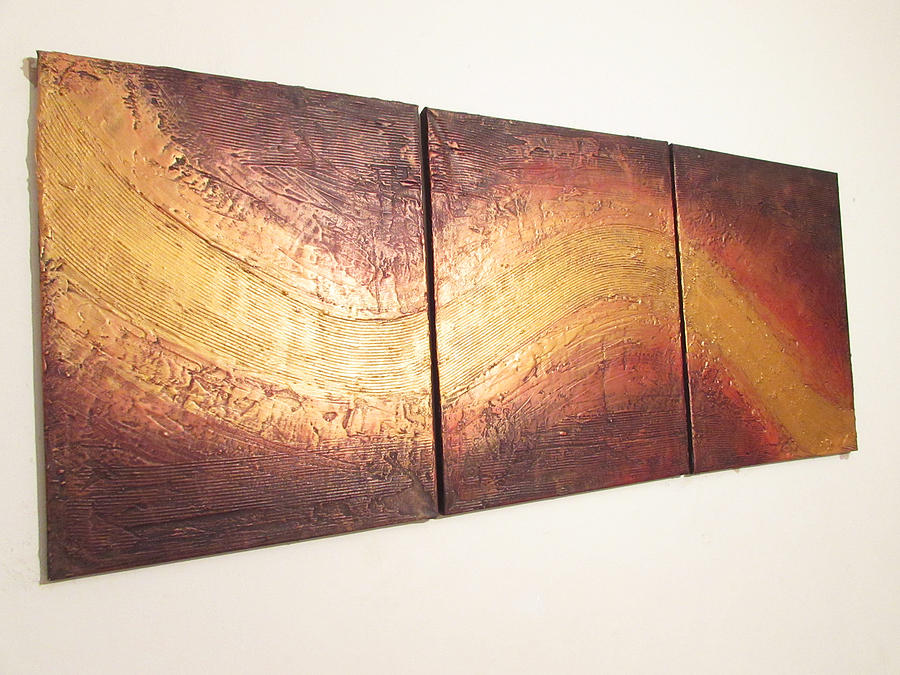River Of Gold Triptych Abstract Painting by Stuart Wright
