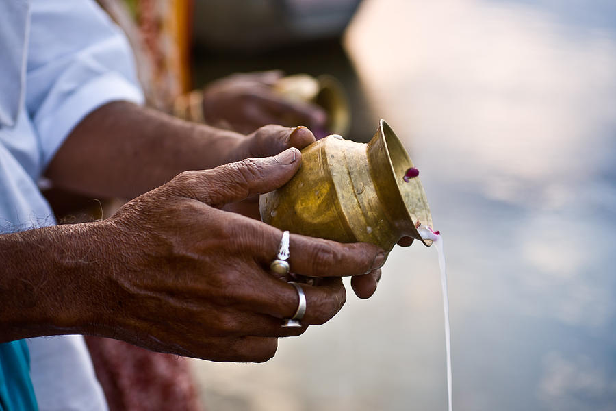 Culture Photograph - River Offering by Nila Newsom