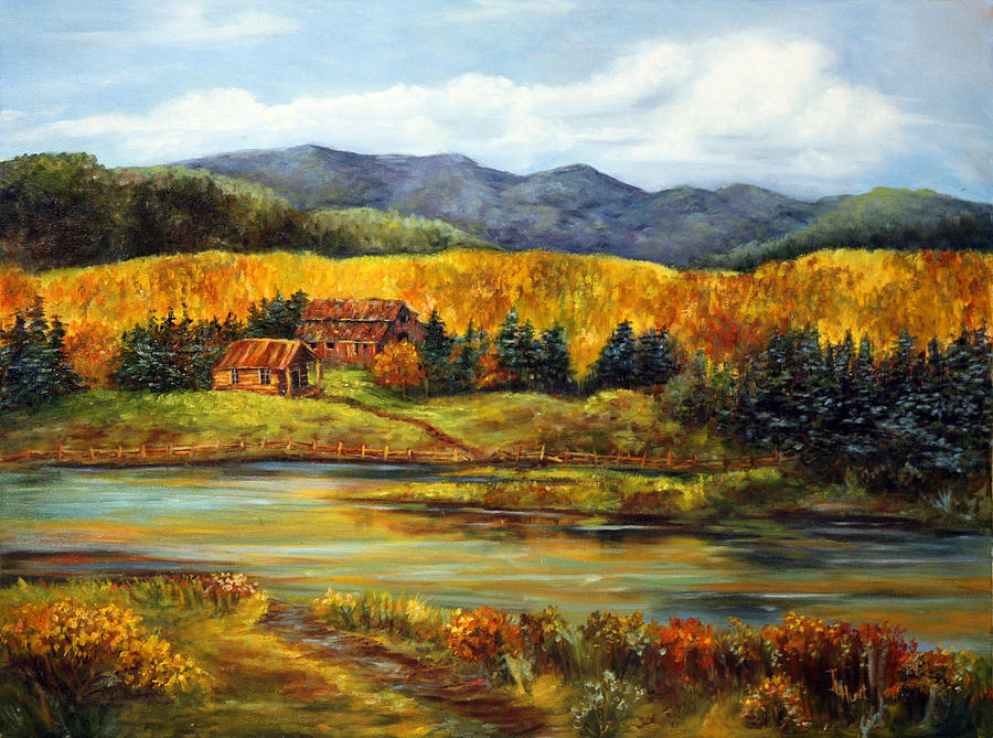 Ranch Painting - River Ranch by June Hunt