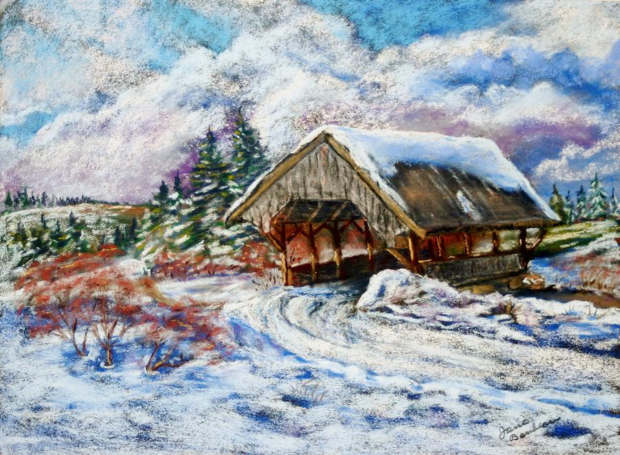 Pastel Painting - River Rd Covered Bridge by Jane Baribeau