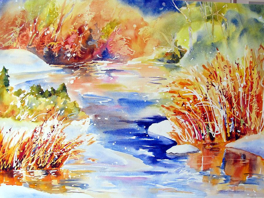 Watercolour Painting - River Reeds by John Nussbaum