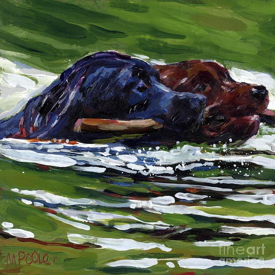 Black Lab Painting - River Run by Molly Poole