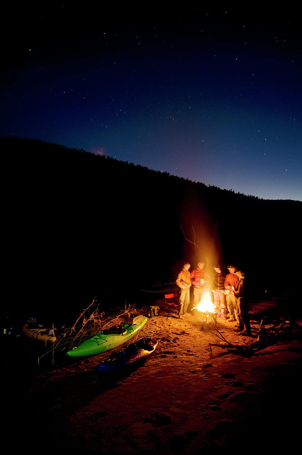 Adventure Photograph - River Runners Huddle Around The Fire by Kyle George