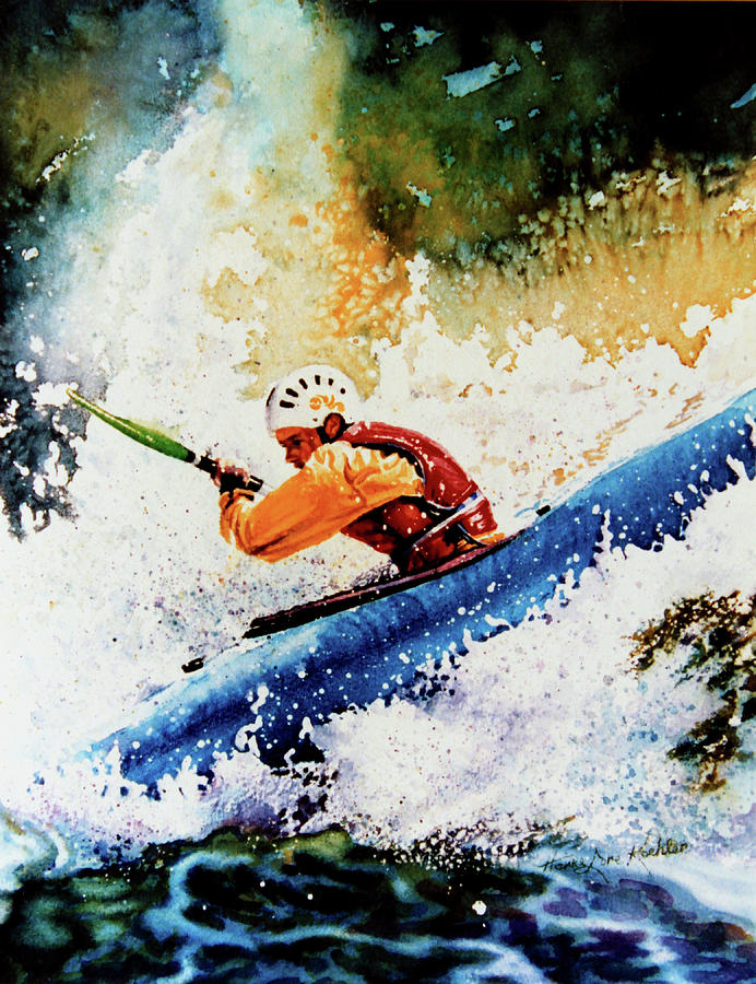 Canoeing Painting - River Rush by Hanne Lore Koehler