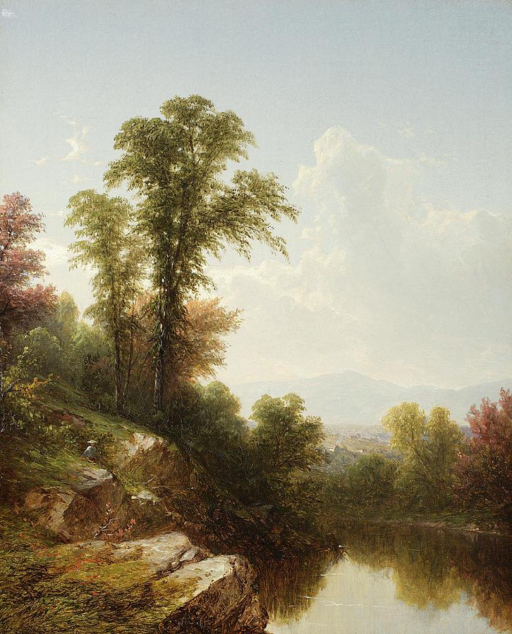 River Scene Painting - River Scene  Catskill by John William Casilear