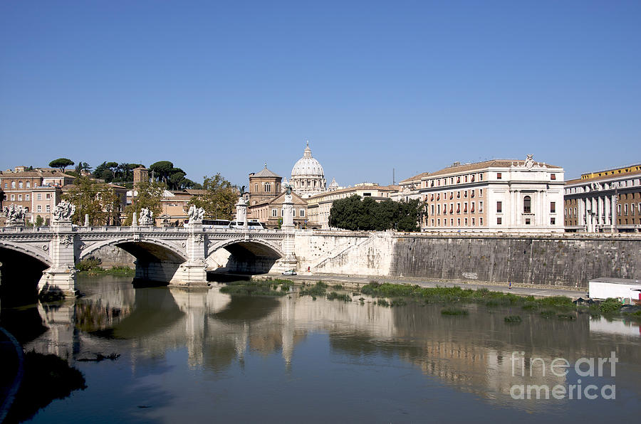 With Photograph - River Tiber With The Vatican. Rome by Bernard Jaubert