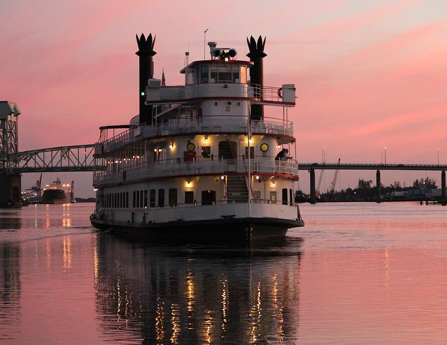 Riverboat Photograph - Riverboat At Sunset by Cynthia Guinn