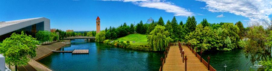 Hdr Photograph - Riverfront Park Clean Pano by Dan Quam