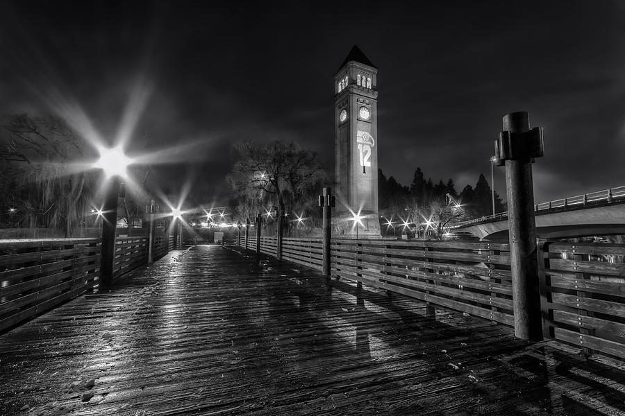 Spokane Photograph - Riverfront Park Clocktower Seahawks Black And White by Mark Kiver