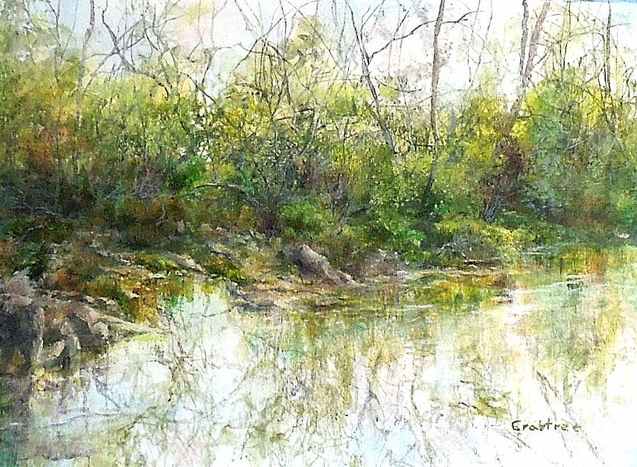 Reflections Painting - Rivers Edge by Elizabeth Crabtree