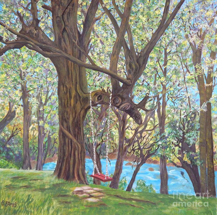 Landscape Painting - Riverside by Caroline Street