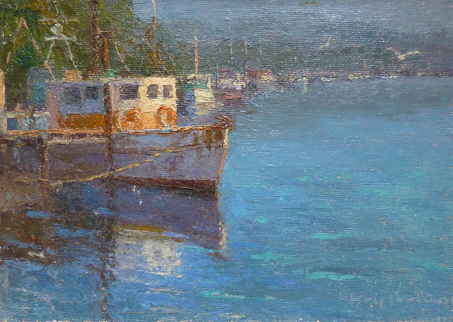 Boats Painting - Riverton Morning by Terry Perham