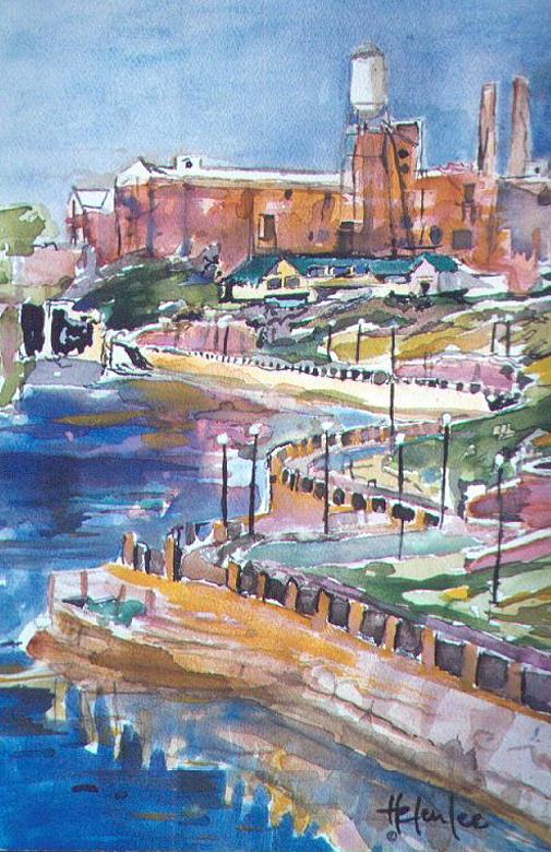 Impressionist Painting - Riverwalk by Helen Lee