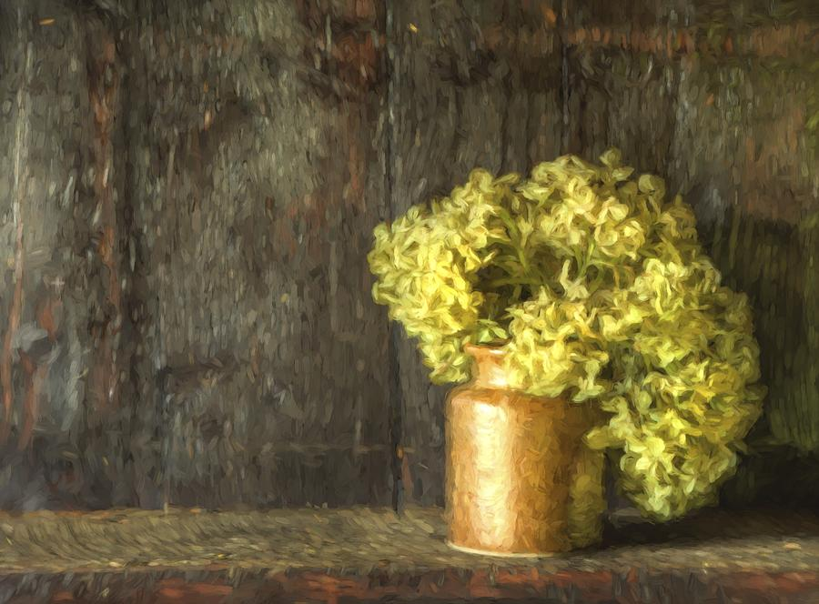Flowers Photograph - Rmonet Style Digital Painting Etro Style Still Life Of Dried Flowers In Vase Against Worn Woo by Matthew Gibson