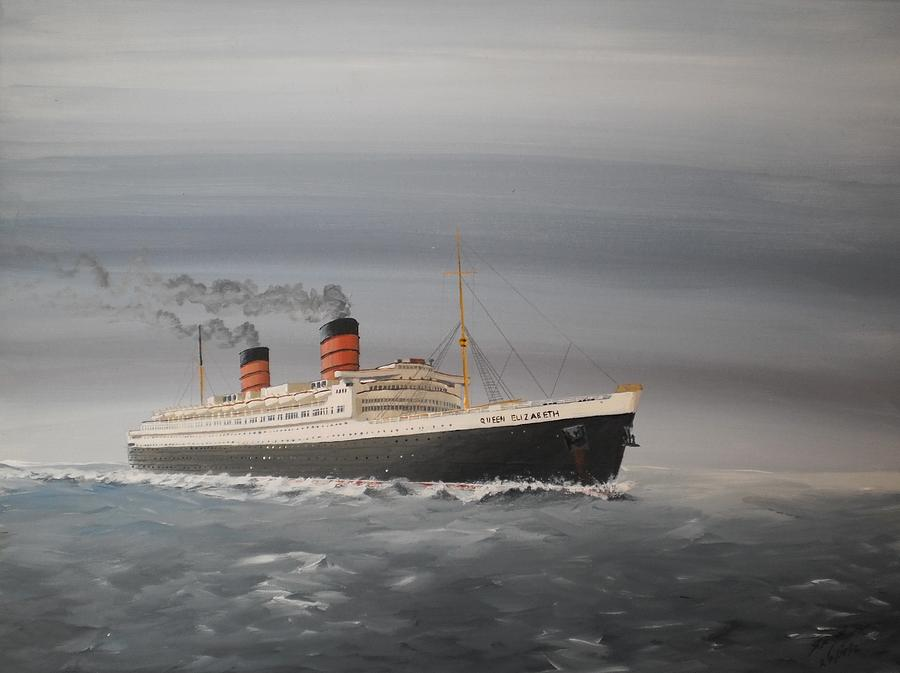 Queen Painting - R.m.s Queen Elizabeth by James McGuinness