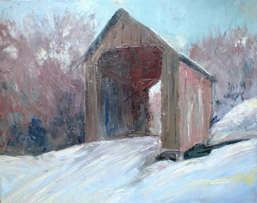 Covered Bridge Painting - Road To Matts by Bryan Alexander